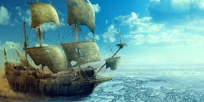 Galleon in ice, cropped, by Jordan Singh
