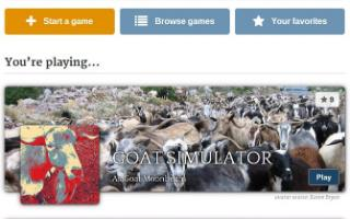 Storium game selection screen showing Goat Simulator